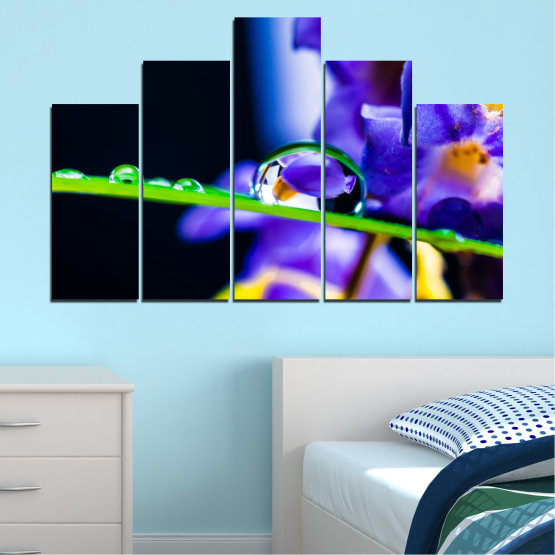 Canvas prints & wall decorative panels - 5 pieces №0471 » Purple, Blue, Black, Gray, White » Flowers, Nature, Drops Form #5