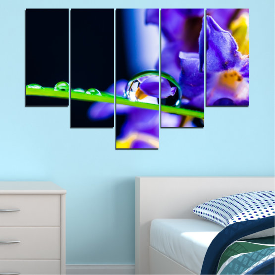Canvas prints & wall decorative panels - 5 pieces №0471 » Purple, Blue, Black, Gray, White » Flowers, Nature, Drops Form #6