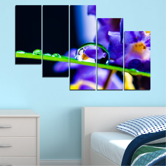 Canvas prints & wall decorative panels - 5 pieces №0471 » Purple, Blue, Black, Gray, White » Flowers, Nature, Drops Form #7