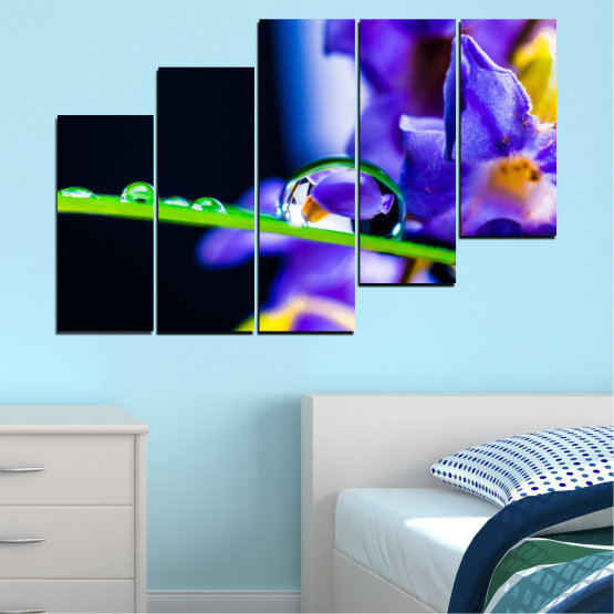 Canvas prints & wall decorative panels - 5 pieces №0471 » Purple, Blue, Black, Gray, White » Flowers, Nature, Drops Form #8
