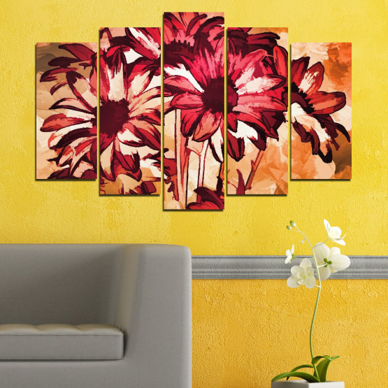 Canvas prints & wall decorative panels - 5 pieces №0472 » Red, Orange, Black, Beige » Flowers, Drawing, Gerbera Form #1