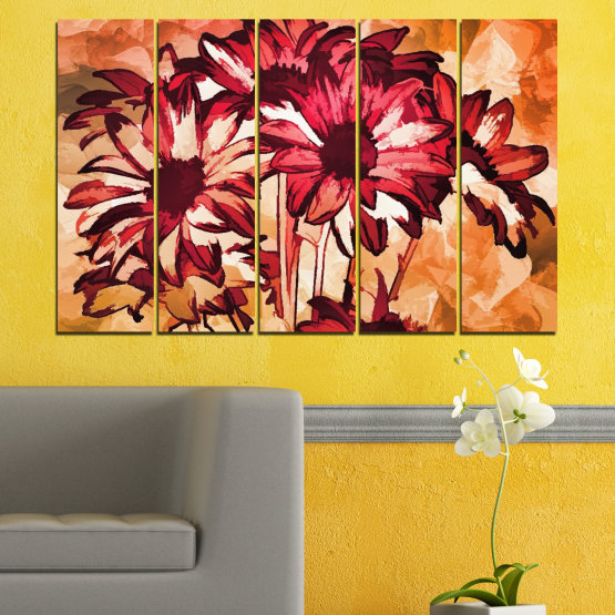 Canvas prints & wall decorative panels - 5 pieces №0472 » Red, Orange, Black, Beige » Flowers, Drawing, Gerbera Form #2