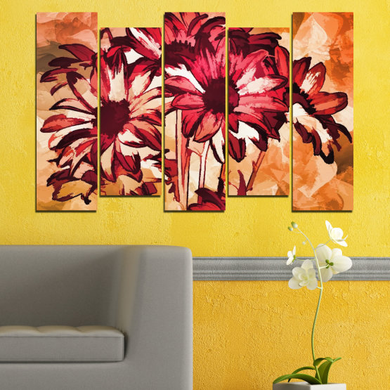 Canvas prints & wall decorative panels - 5 pieces №0472 » Red, Orange, Black, Beige » Flowers, Drawing, Gerbera Form #3