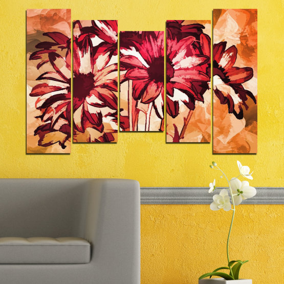 Canvas prints & wall decorative panels - 5 pieces №0472 » Red, Orange, Black, Beige » Flowers, Drawing, Gerbera Form #4