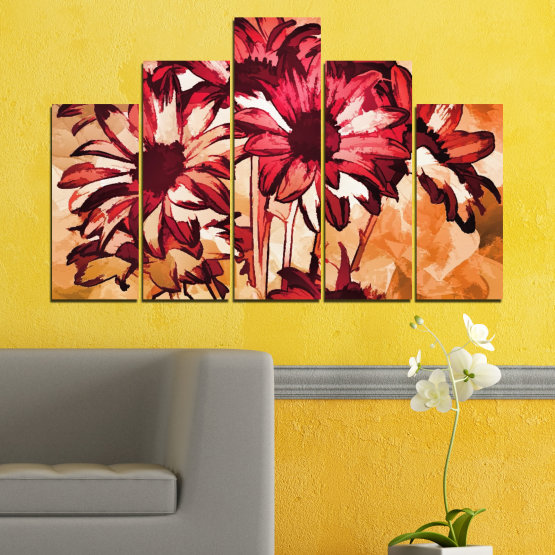 Canvas prints & wall decorative panels - 5 pieces №0472 » Red, Orange, Black, Beige » Flowers, Drawing, Gerbera Form #5