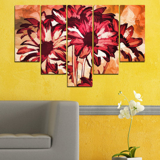 Canvas prints & wall decorative panels - 5 pieces №0472 » Red, Orange, Black, Beige » Flowers, Drawing, Gerbera Form #6