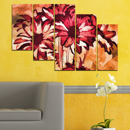 Canvas prints & wall decorative panels - 5 pieces №0472 » Red, Orange, Black, Beige » Flowers, Drawing, Gerbera Form #7