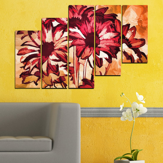 Canvas prints & wall decorative panels - 5 pieces №0472 » Red, Orange, Black, Beige » Flowers, Drawing, Gerbera Form #8