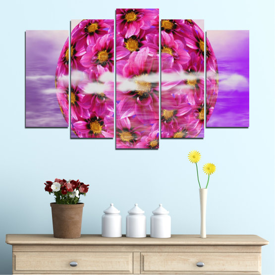 Canvas prints & wall decorative panels - 5 pieces №0474 » Pink, Purple, Gray » Flowers, Collage, Reflection, Circle Form #1