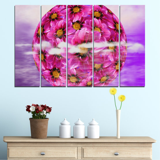Canvas prints & wall decorative panels - 5 pieces №0474 » Pink, Purple, Gray » Flowers, Collage, Reflection, Circle Form #2