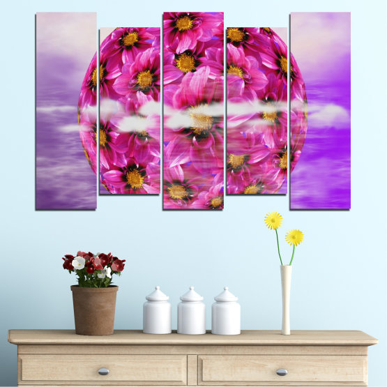 Canvas prints & wall decorative panels - 5 pieces №0474 » Pink, Purple, Gray » Flowers, Collage, Reflection, Circle Form #3