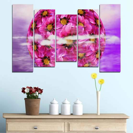 Canvas prints & wall decorative panels - 5 pieces №0474 » Pink, Purple, Gray » Flowers, Collage, Reflection, Circle Form #4