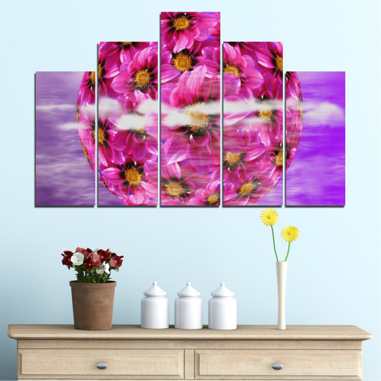 Canvas prints & wall decorative panels - 5 pieces №0474 » Pink, Purple, Gray » Flowers, Collage, Reflection, Circle Form #5