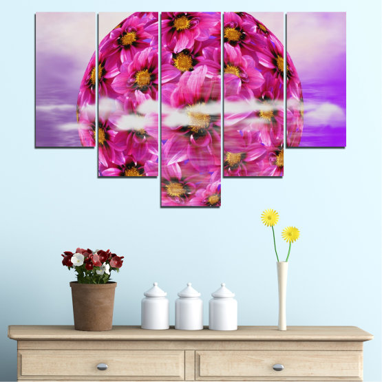 Canvas prints & wall decorative panels - 5 pieces №0474 » Pink, Purple, Gray » Flowers, Collage, Reflection, Circle Form #6