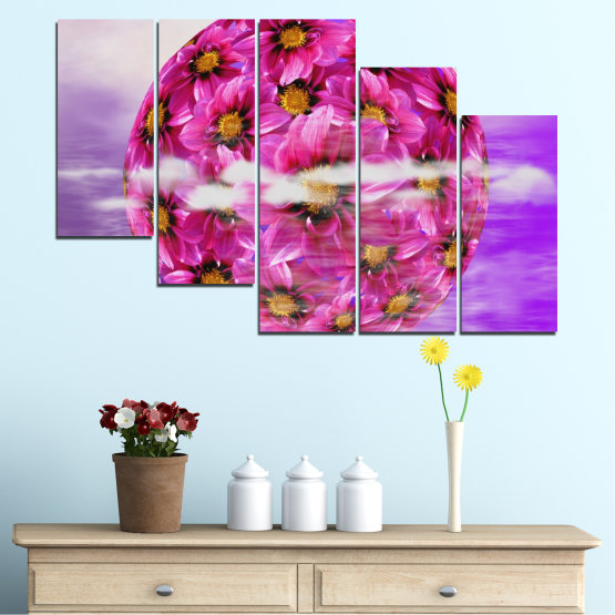 Εκτύπωση σε καμβά και διακοσμητικά πάνελ τοίχου - 5 τεμάχια №0474 » Ροζ, Μωβ, Γκρί » Λουλούδια, Κολάζ, Αντανάκλαση, Κύκλος Form #7