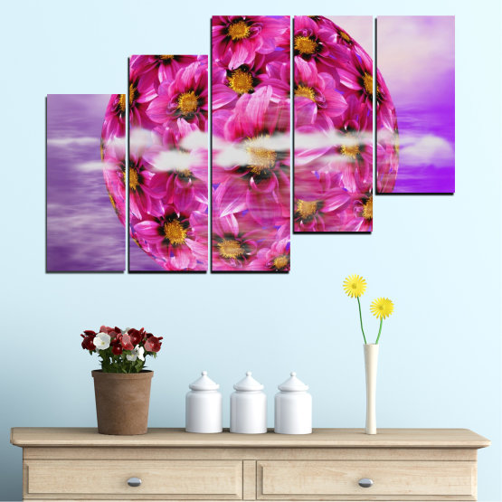 Canvas prints & wall decorative panels - 5 pieces №0474 » Pink, Purple, Gray » Flowers, Collage, Reflection, Circle Form #8