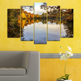Landscape, Nature, Water, Forest, Autumn » Brown, Black, Gray, Dark grey
