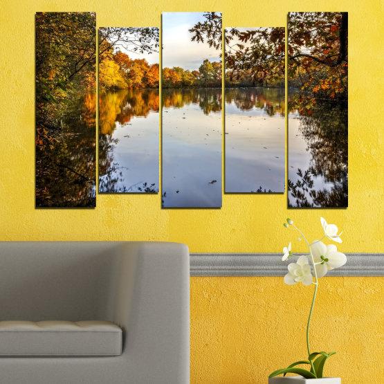 Декоративни панели и картини от канава - от 5 части №0475 » Кафяв, Черен, Сив, Тъмно сив » Природа, Пейзаж, Вода, Гора, Есен Form #3
