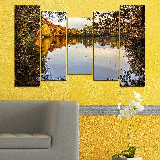 Декоративни панели и картини от канава - от 5 части №0475 » Кафяв, Черен, Сив, Тъмно сив » Природа, Пейзаж, Вода, Гора, Есен Form #4