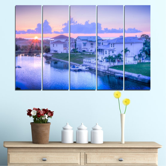 Canvas prints & wall decorative panels - 5 pieces №0476 » Blue, Gray, Dark grey » Sun, City, Usa Form #2