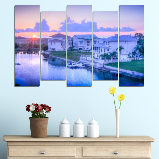 Canvas prints & wall decorative panels - 5 pieces №0476 » Blue, Gray, Dark grey » Sun, City, Usa Form #3