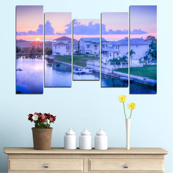 Canvas prints & wall decorative panels - 5 pieces №0476 » Blue, Gray, Dark grey » Sun, City, Usa Form #4