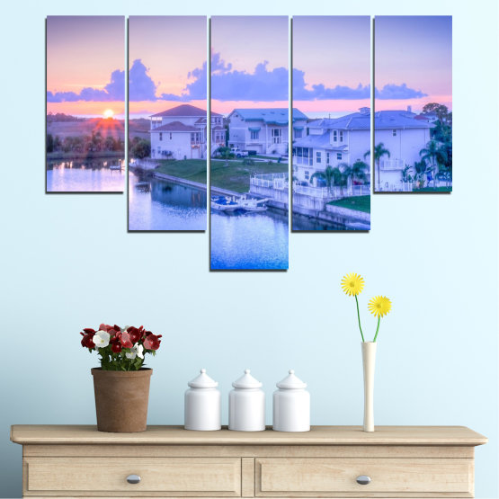Canvas prints & wall decorative panels - 5 pieces №0476 » Blue, Gray, Dark grey » Sun, City, Usa Form #6