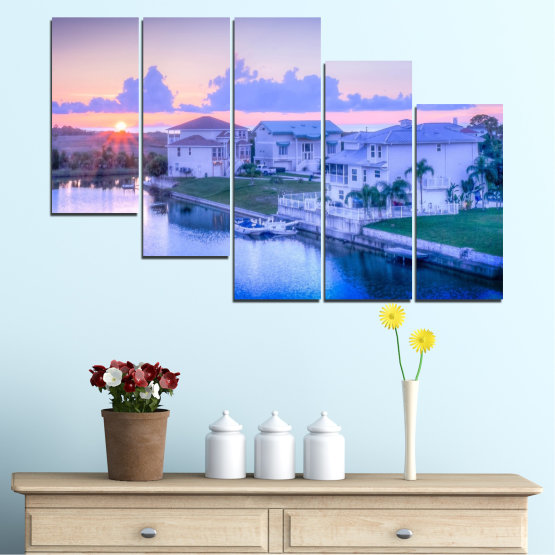 Canvas prints & wall decorative panels - 5 pieces №0476 » Blue, Gray, Dark grey » Sun, City, Usa Form #7