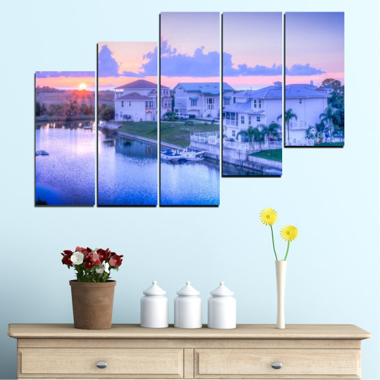 Canvas prints & wall decorative panels - 5 pieces №0476 » Blue, Gray, Dark grey » Sun, City, Usa Form #8