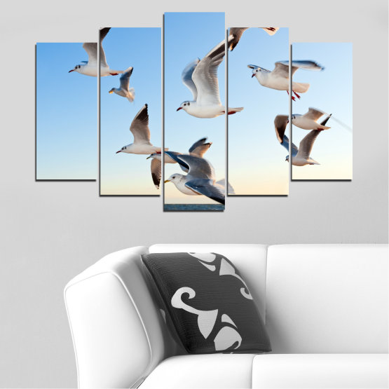 Canvas prints & wall decorative panels - 5 pieces №0477 » Turquoise, Gray, White » Sky, Birds, Seagull Form #1