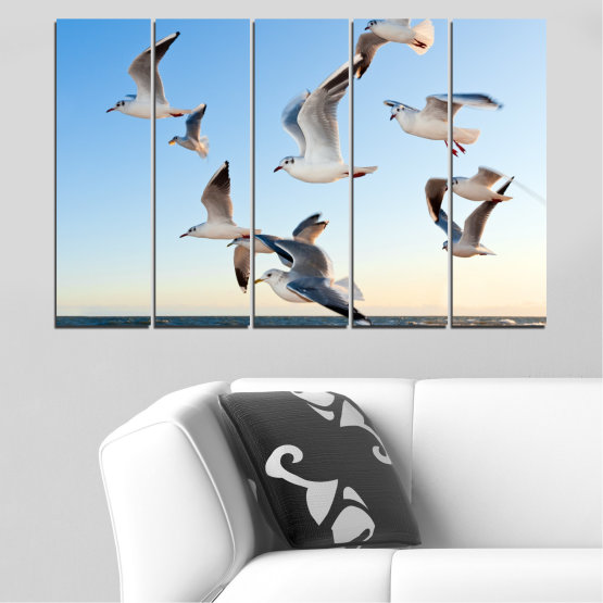 Canvas prints & wall decorative panels - 5 pieces №0477 » Turquoise, Gray, White » Sky, Birds, Seagull Form #2