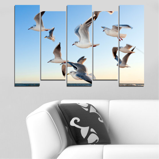Canvas prints & wall decorative panels - 5 pieces №0477 » Turquoise, Gray, White » Sky, Birds, Seagull Form #3