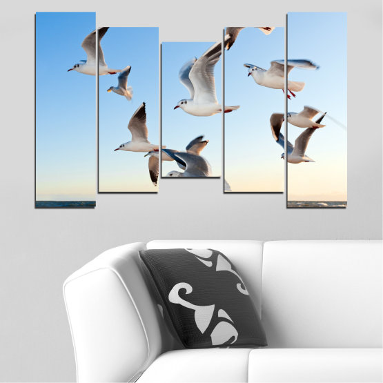 Canvas prints & wall decorative panels - 5 pieces №0477 » Turquoise, Gray, White » Sky, Birds, Seagull Form #4