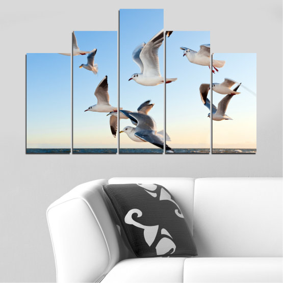 Canvas prints & wall decorative panels - 5 pieces №0477 » Turquoise, Gray, White » Sky, Birds, Seagull Form #5