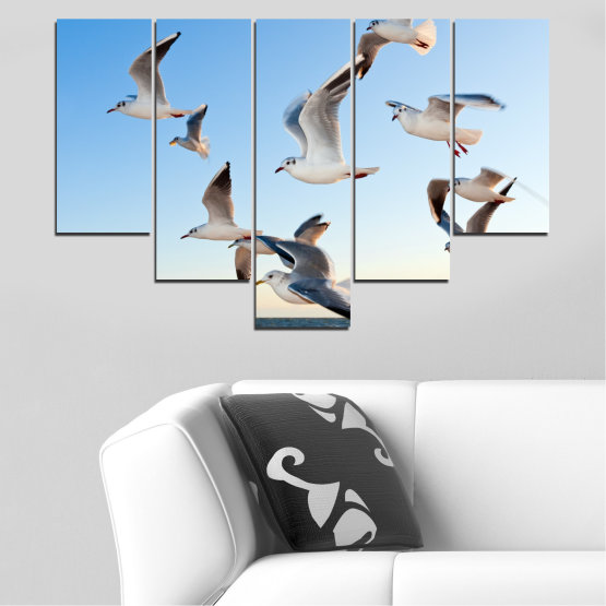 Canvas prints & wall decorative panels - 5 pieces №0477 » Turquoise, Gray, White » Sky, Birds, Seagull Form #6