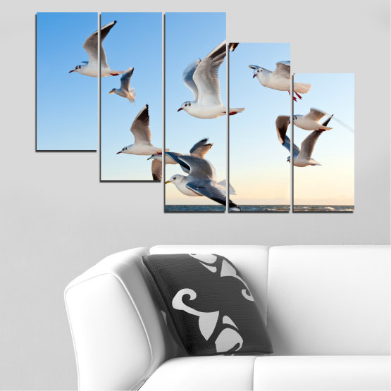 Canvas prints & wall decorative panels - 5 pieces №0477 » Turquoise, Gray, White » Sky, Birds, Seagull Form #7