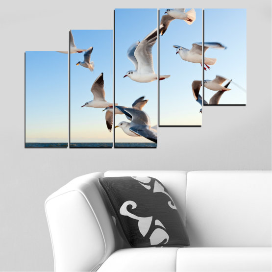 Canvas prints & wall decorative panels - 5 pieces №0477 » Turquoise, Gray, White » Sky, Birds, Seagull Form #8