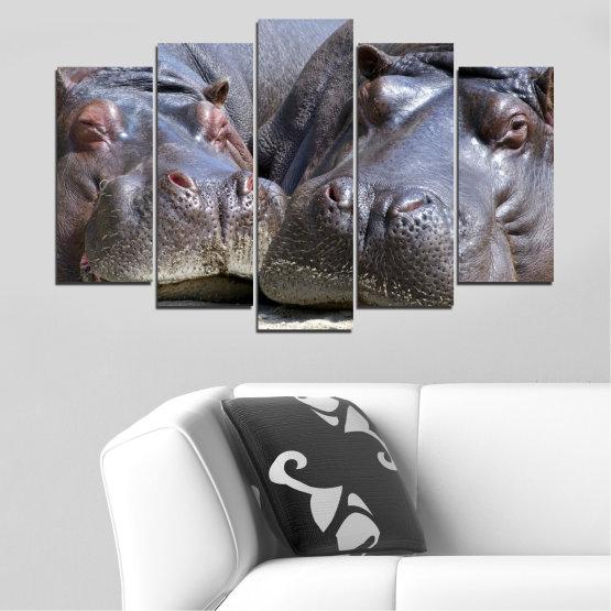 Декоративни панели и картини от канава - от 5 части №0478 » Черен, Сив, Тъмно сив » Животни, Портрет, Хипопотам Form #1