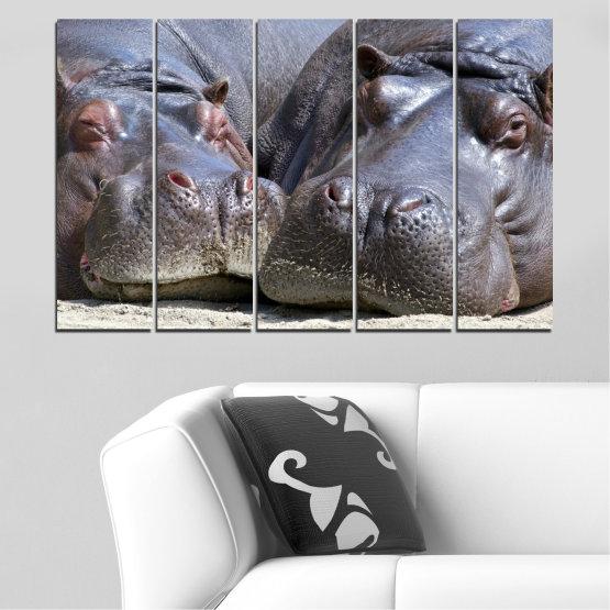 Декоративни панели и картини от канава - от 5 части №0478 » Черен, Сив, Тъмно сив » Животни, Портрет, Хипопотам Form #2