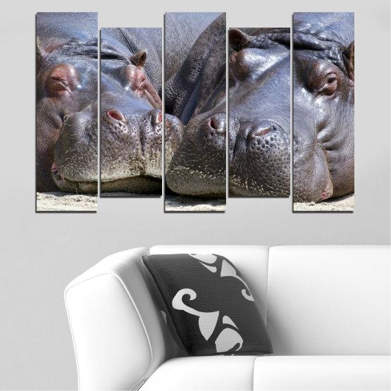 Декоративни панели и картини от канава - от 5 части №0478 » Черен, Сив, Тъмно сив » Животни, Портрет, Хипопотам Form #3