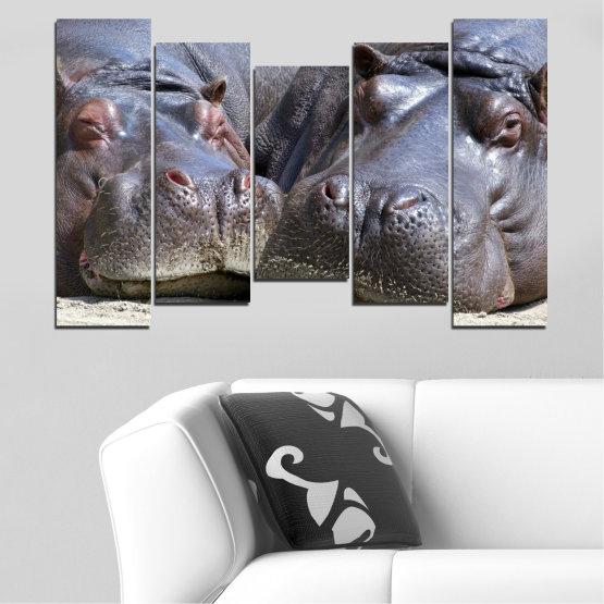 Декоративни панели и картини от канава - от 5 части №0478 » Черен, Сив, Тъмно сив » Животни, Портрет, Хипопотам Form #4