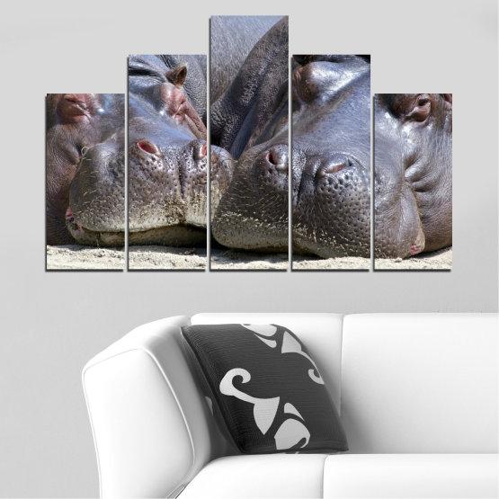 Декоративни панели и картини от канава - от 5 части №0478 » Черен, Сив, Тъмно сив » Животни, Портрет, Хипопотам Form #5
