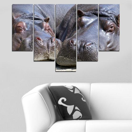 Декоративни панели и картини от канава - от 5 части №0478 » Черен, Сив, Тъмно сив » Животни, Портрет, Хипопотам Form #6