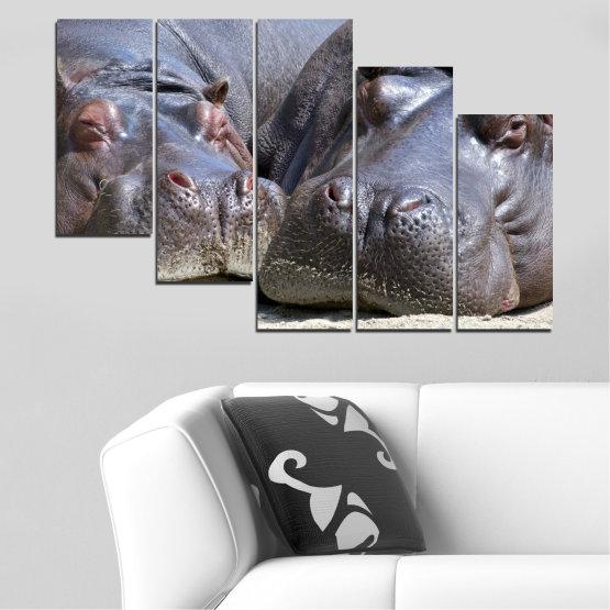Декоративни панели и картини от канава - от 5 части №0478 » Черен, Сив, Тъмно сив » Животни, Портрет, Хипопотам Form #7