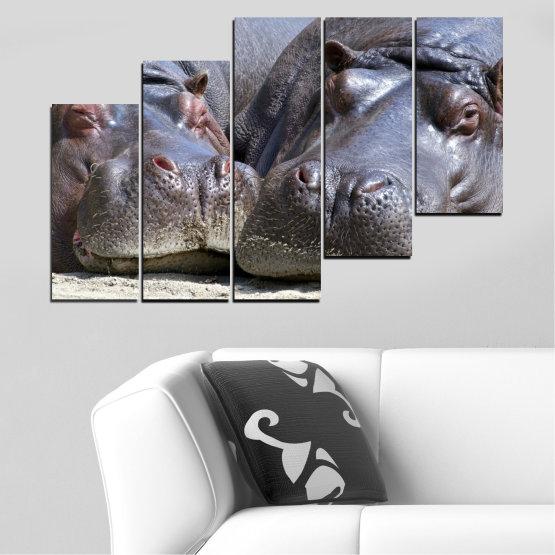 Декоративни панели и картини от канава - от 5 части №0478 » Черен, Сив, Тъмно сив » Животни, Портрет, Хипопотам Form #8