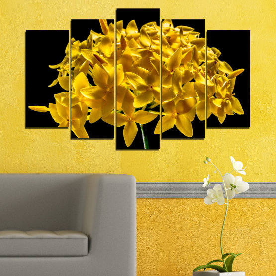 Canvas prints & wall decorative panels - 5 pieces №0479 » Green, Yellow, Orange, Black » Flowers, Collage, Shine Form #1