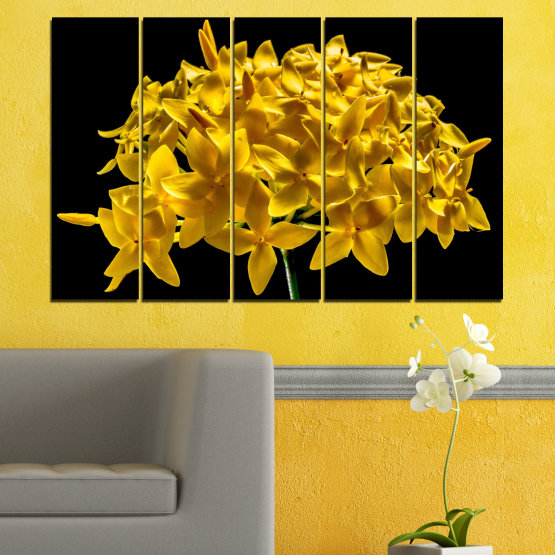 Canvas prints & wall decorative panels - 5 pieces №0479 » Green, Yellow, Orange, Black » Flowers, Collage, Shine Form #2