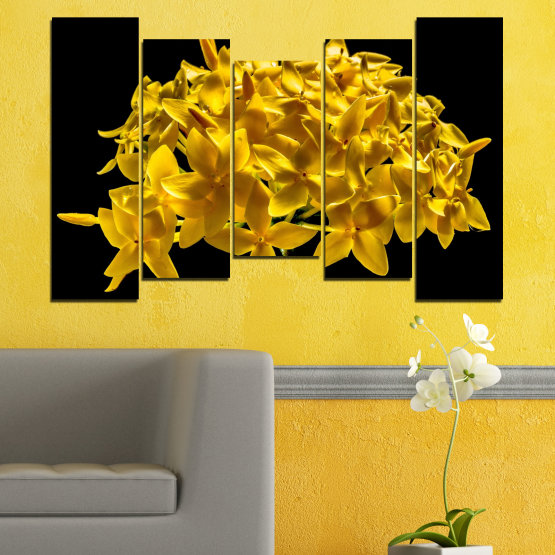 Canvas prints & wall decorative panels - 5 pieces №0479 » Green, Yellow, Orange, Black » Flowers, Collage, Shine Form #4