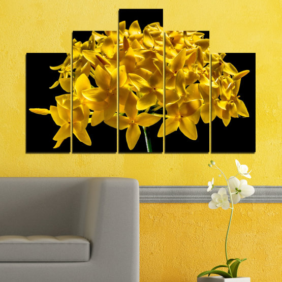 Canvas prints & wall decorative panels - 5 pieces №0479 » Green, Yellow, Orange, Black » Flowers, Collage, Shine Form #5