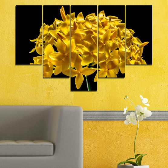 Canvas prints & wall decorative panels - 5 pieces №0479 » Green, Yellow, Orange, Black » Flowers, Collage, Shine Form #6